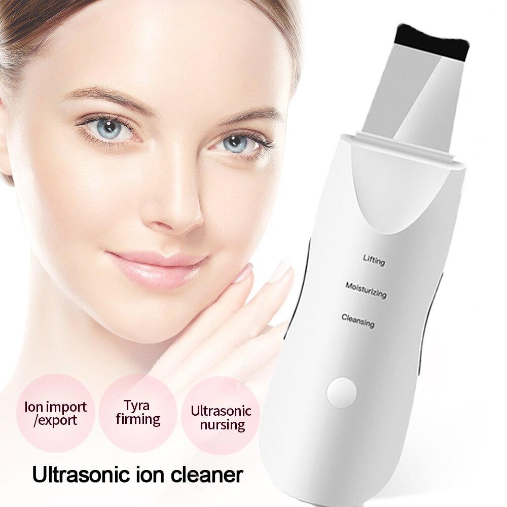 Ultrasonic Skin Scrubber Skin Spatula Facial Exfoliating Face Pore Cleaner Face Lifting Face Skin Scraper Blackhead Remover