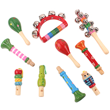 Toddlers Music Toys Sounding Toy Bed Bells Sand Hammer Whistle Castanets Musical Instrument Random Colors Infant New Born Gift