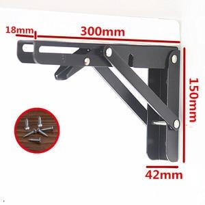 Image 1 - 2PCS,12 Inch  Heavy Duty 90 Degree Large Decorative Table Black Adjustable Angle Shelf Wall Metal Table Folding Shelf  Bracket