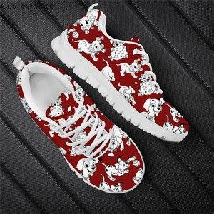 ELVISWORDS/модные красные туфли на плоской подошве; далматинские дышащие уличные кроссовки с рисунком собаки для женщин; Легкая сетчатая обувь д...