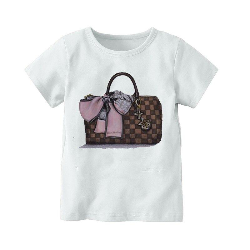 Летняя футболка с короткими рукавами для девочек Футболка с сумкой для косметики Топ для маленьких девочек футболка детская одежда|Тройники| - AliExpress