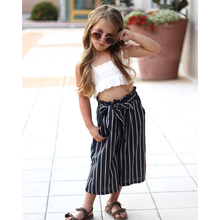 Pudcoco Fashion Kids Baby Girls Clothes Set Lace White Crop Tops Striped Long Pants 2pcs Outfits Summer Sunsuit For 1-6Year