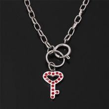 Rhinestone igirl Key Shape Pendant Choker Necklace Women Heavy Gothic Streetwear Stainless Steel IGIRL Chain Necklace Gift