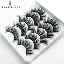 Sexysheep 5 Paar 3D Faux Nertsen Wimpers Natuurlijke Valse Wimpers Piekerige Make Up Beauty Extensions Tools Maquiagem Faux Cils