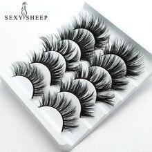Sexysheep cílios postiços visão 3d de vison, 5 pares de cílios postiços falsos para maquiagem de beleza faux cils