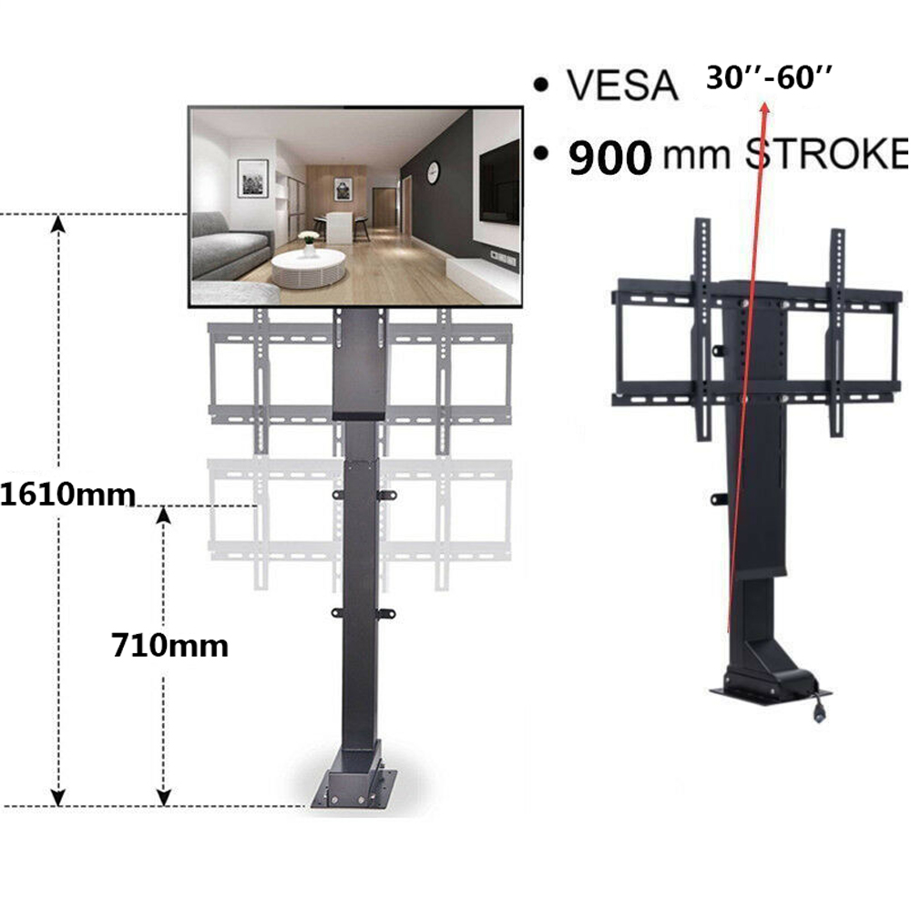 30 to 60 900mm 700N Electric TV Lift TV Mount Bracket Remote Control Max Height 1610mm