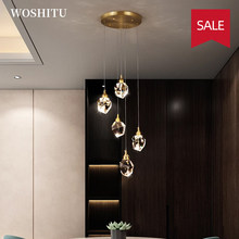 Nordic LED Crystal Chandelier for Dining Room Modern Gold Wall Lamp for Bedroom Living Room Wall Decor Home Indoor Lighting
