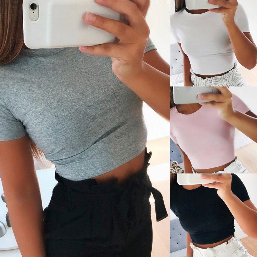 Summer Sexy Women T-Shirts Solid Color Short Sleeve Round Neck Slim Crop Top T-Shirt ladies Top Female T Shirts Tees
