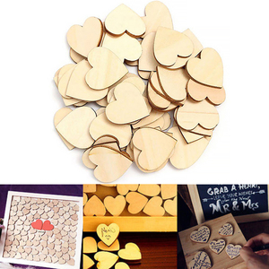 Craft Wall Natural Self Adhesive Ornament Heart Shape Home Wooden Hanging Party DIY Decoration