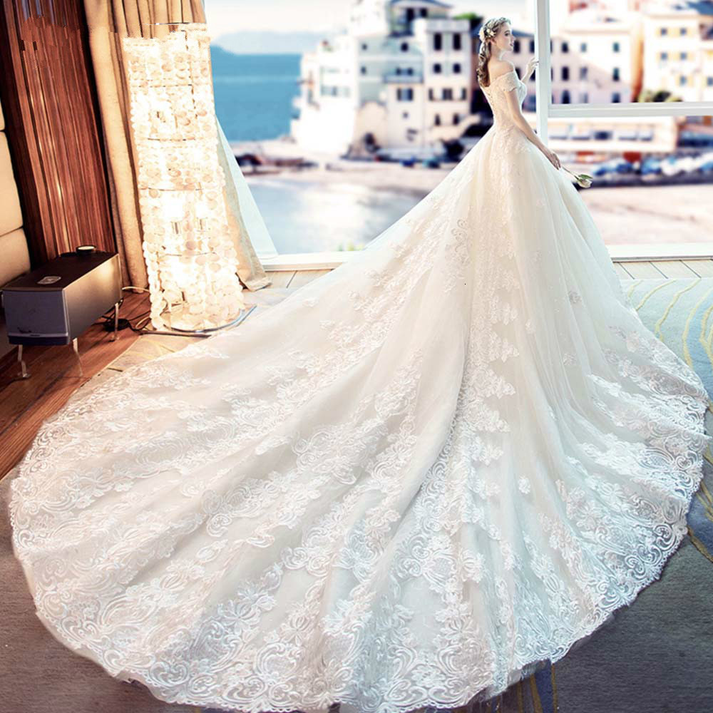 Wedding Dress Sand Orange Lace Wedding Dress 2019 Train Plus Size