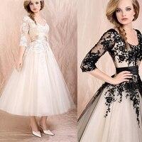 Tea Length Lace Cocktail Dresses Party 3/4 Sleeves Graduation Women Prom Plus Size Coctail Mini Semi Bridal Formal Dresses