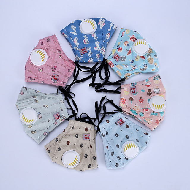 1Pcs Anti Dust Face Mouth Mask Reusable Breathable Cotton Protective Children Kid Cartoon Cute PM2.5 Anti-Dust Mouth Face Mask 2