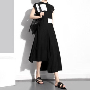 [EAM] Women Black Contrast Color Split Black Long Dress New Stand Collar Sleeveless Loose Fit Fashion Spring Summer 2020 1T360