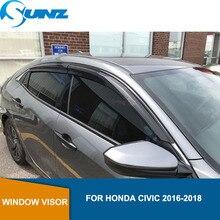 צד חלון Deflectors שחור צבע רכב רוח הטית שמש משמר עבור הונדה סיוויק 2016 2017 2018 אביזרי רכב SUNZ