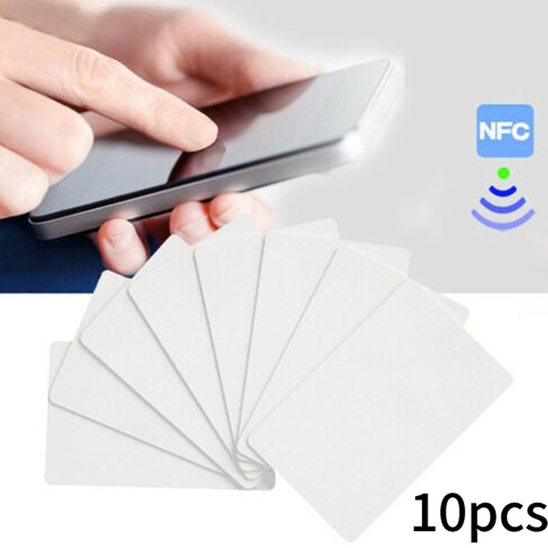 10pcs Phone NFC Card Chips Mobile Phone Portable NFC Tags 13.56Mhz PVC Ntag215 Chips White Cards