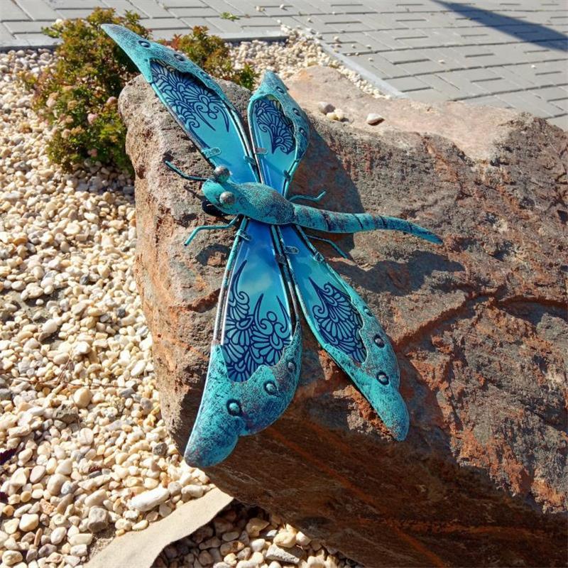 Metal Dragonfly Wall Artwork for Garden Decoration Miniaturas Animal Outdoor Statues and Sculptures for Yard Decoration 2