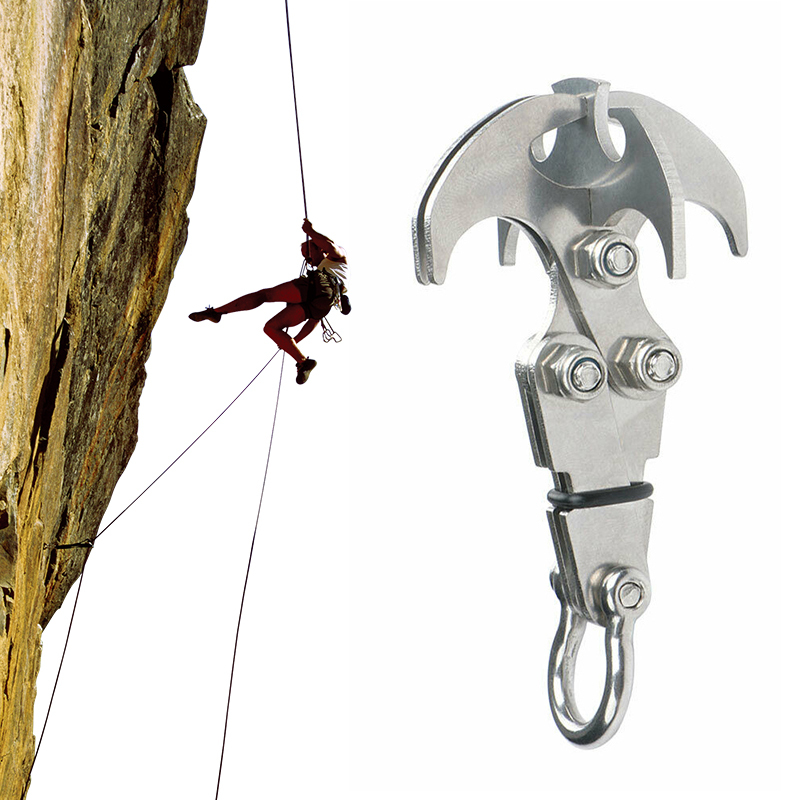 Stainless Steel Survival Folding Grappling Hook Outdoor Climbing Claw Accessories Gravity Hook Key Chain Car Traction Rescue