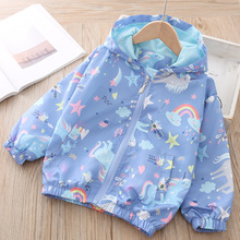 Kids Coat Girls Jacket Outwear Windbreaker Hooded Baby-Girl Autumn Children Cartoon New