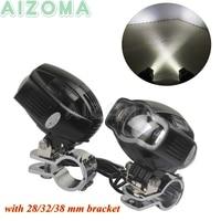 Motorcycle LED Auxiliary Fog Light 20W Universal Crash Bar Mount Spotlight Head Lamp w/ USB Charge For Harley BMW R1200 F800 GS