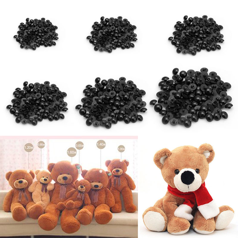 New 1Pack(100 Pieces) 10mm-20mm Buttons Round Mushroom Domed Sewing Shank Black DIY Animal Eyes Toy