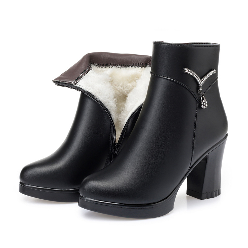 2019 New Winter Women Boots Genuine Leather Plus Velvet and Wool Warm Snow Boots Women Shoes Boots High-heel Boots Large Size