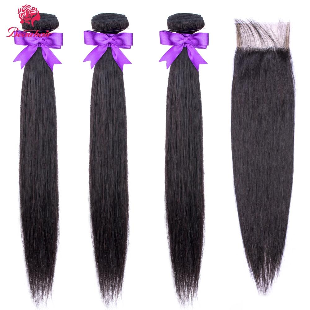 Straight Hair Bundles With 4*4 Closure Malaysian Human Hair Bundles With Closure Beau Hair Non Remy Straight Hair With Closure