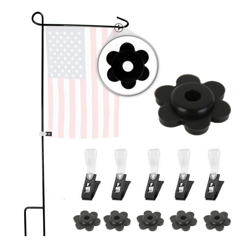 5 пар фиксаторы для флага набор с зажимами анти-ветер практичный открытый сад фиксаторы для флага Набор Черный Прочный