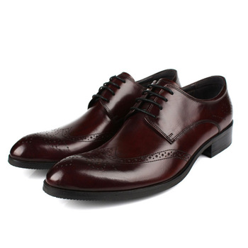 Genuine Cow Leather Brogue Carver Design Men Business Formal  Dress Shoes Classic Pointed Toe Lace Up Oxford Wedding Shoes B172