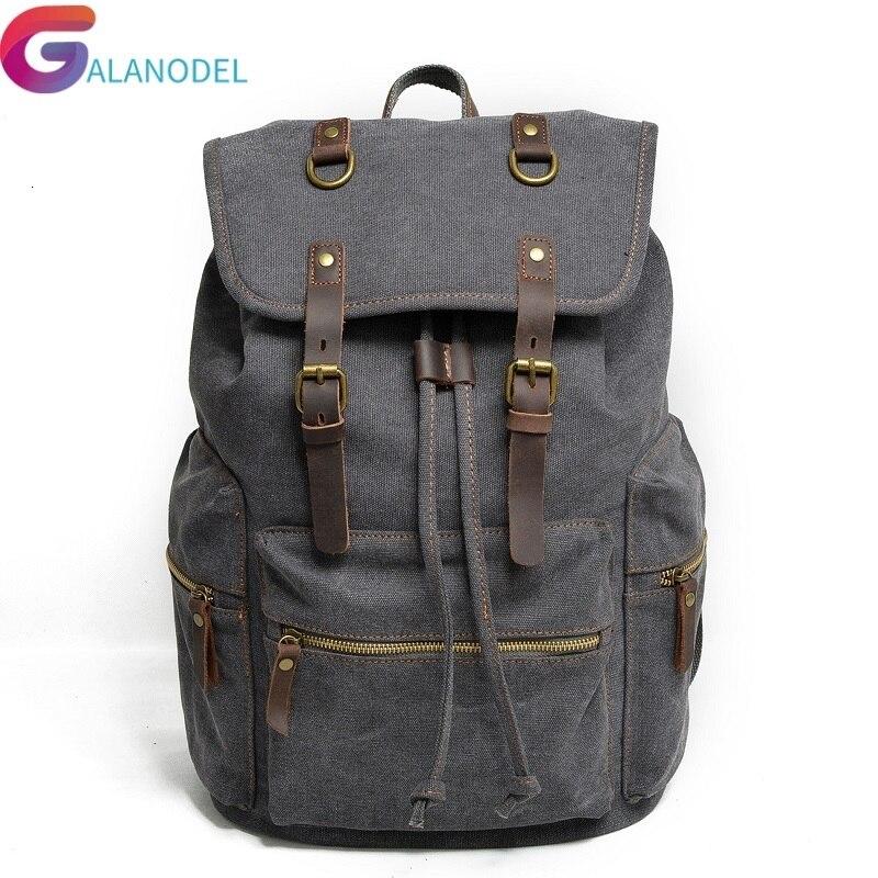 École nouveau Vintage sac à dos en cuir toile hommes sac à dos M104 sac à dos militaire femmes sac à dos mâle sac à dos sac à dos Mochila