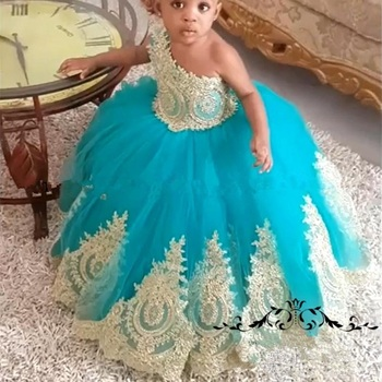 African Girls Gold Flower Girl Dresses Ball Gown One Shoulder Cheap Knot Bow Long Tulle Girls Birthday First Communion For Kids