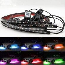 RGB LED Strip LED Under Car Glow Underbody System Neon Light phone App control 60 90cm Car waterproof auto car styling
