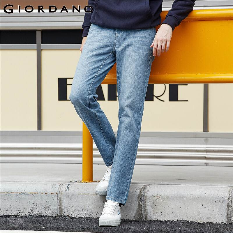 Giordano Men Jeans Moustache Effect Mid Rise Denim Jeans Medium Thickness Five Pocket Calca Jeans Masculina 01119065