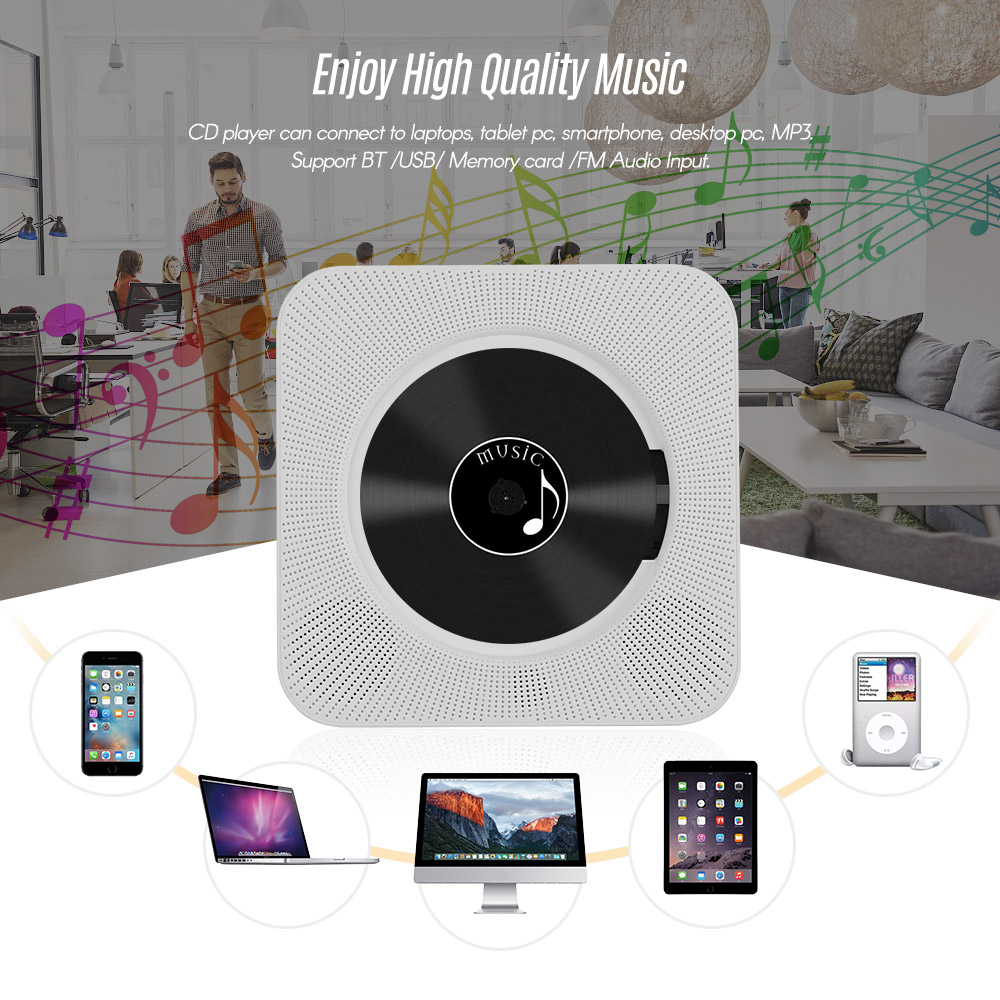 Lecteur de CD mural à distance Boombox Audio de musique Portable avec affichage de LED prise en charge des Modes BT/USB/carte mémoire/FM