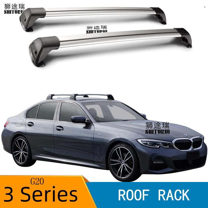 2 pcs for bmw 3 series g20 sedan may 2019 roof bar car special aluminum alloy belt lock led shooting corss rack