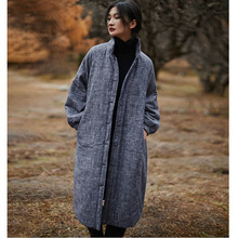 Padded Jacket LINEN Women Plate-Button Vintage Long Winter Thick Cotton Collar S1166