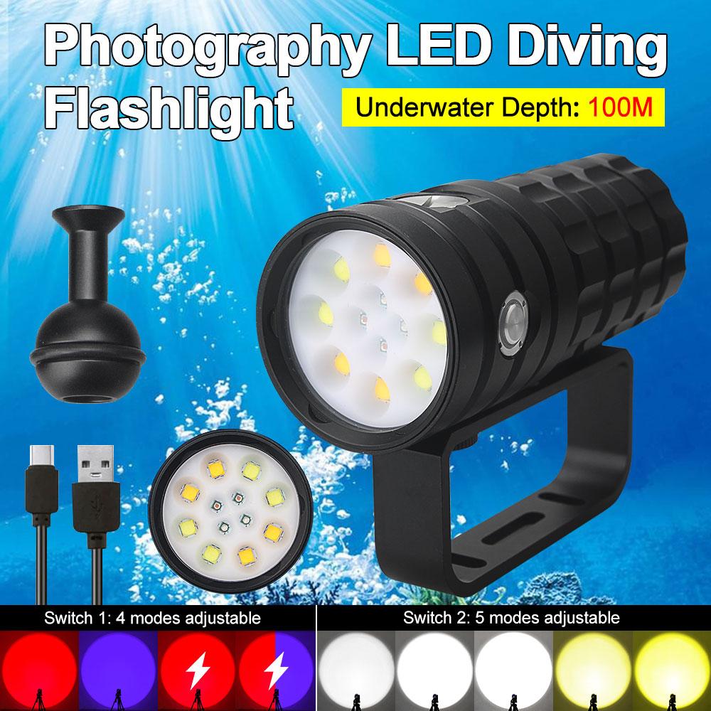 100m fotografia led luz ipx8 mergulho luz lanterna usb carregador