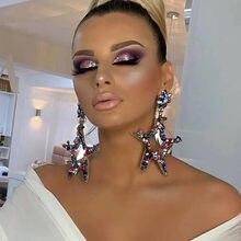 Nova boutique de moda feminina multicolors strass grande estrela balançar brincos jóias na moda lady statement s statement brincos acessórios