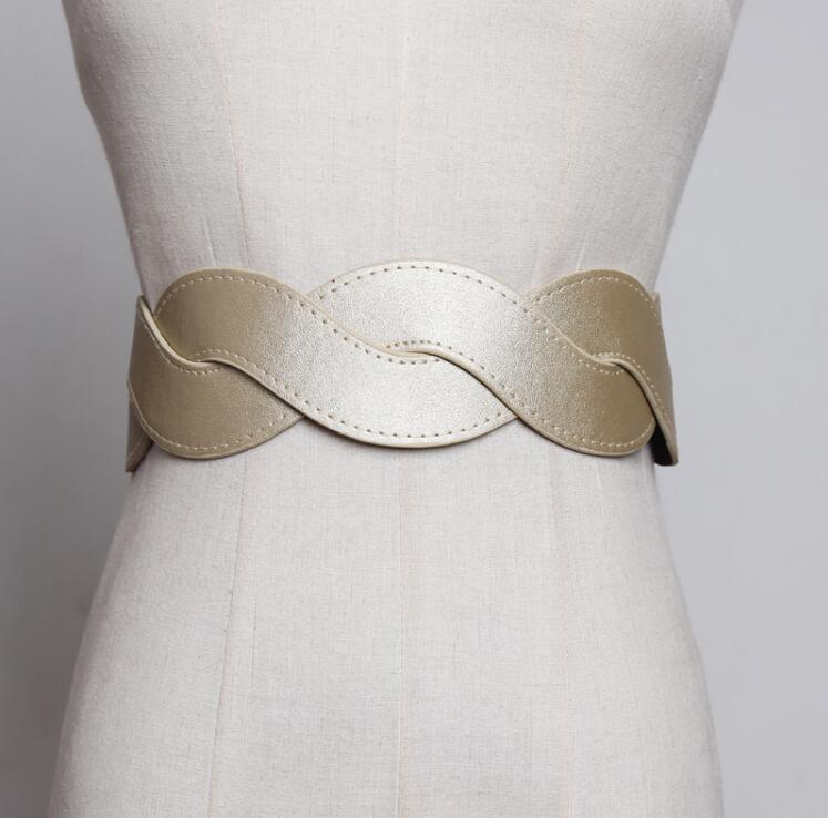 Women's Runway Fashion Cross PU Leather Elastic Cummerbunds Female Dress Coat Corsets Waistband Belts Decoration Wide Belt R1798