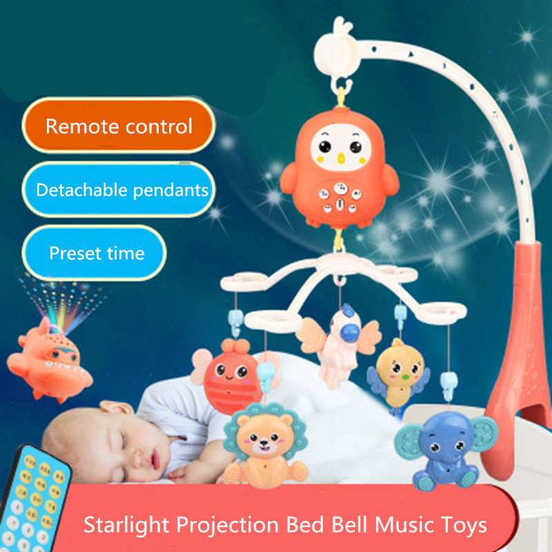 Baby Toys 0-12 Months 4305 Contents Remote Control Rotating Musical Crib Baby Mobile Rattles Bed Bell Educational Toys