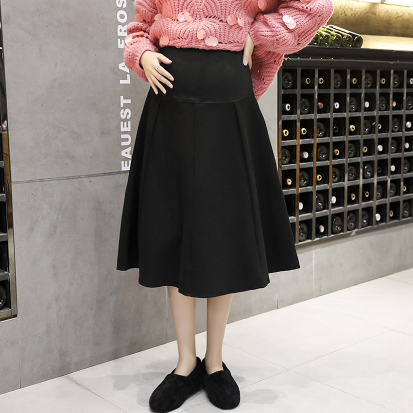 Autumn And Winter Pregnant Women Skirt Loose Wild Woolen Long Section Large Swing Umbrella Skirt New Korean Fashion Pregnancy Skirt