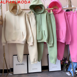 ALPHALMODA 2020 Winter New Arrived Women Candy Color Fashion Tracksuits Fleece Thick Sweatshirt Pants Hooded Casual Set