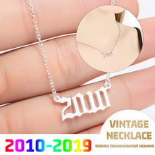 Stainless Steel Year Number Custom Necklaces Pendants For Women Men Gold Silver Long Chain Male Female Necklace Fashion Jewelry(China)