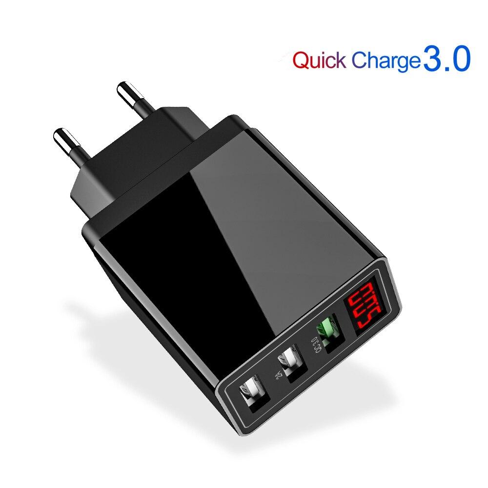 Charge rapide 3.0 USB chargeur de téléphone LED numérique 3 Ports USB 3A affichage de LED EU mur chargeur de téléphone Charge rapide pour iPhone Samsung