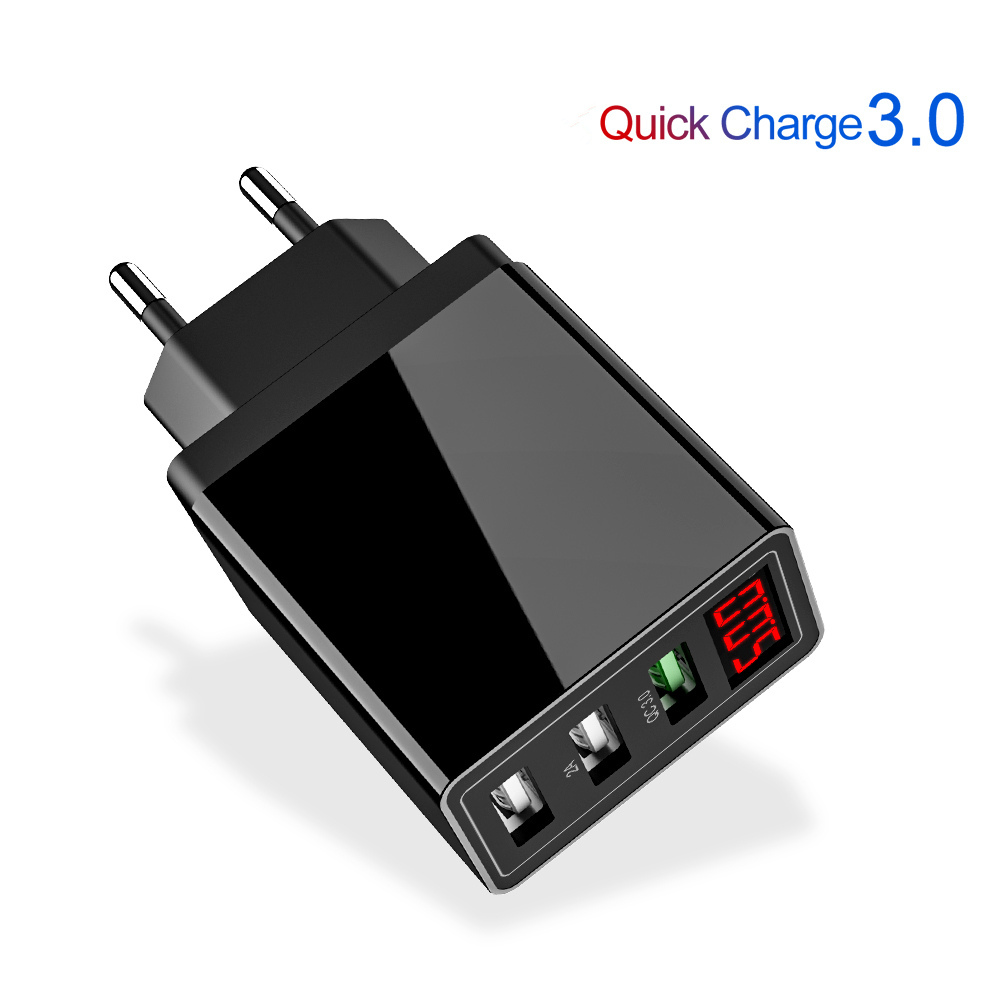 Quick Charge 3.0 USB Phone Charger LED Digital 3 Ports USB 3A LED Display EU Wall Phone Charger Fast Charging For iPhone Samsung