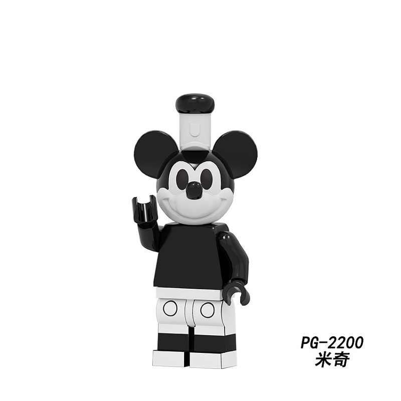 Blocos de construção série bombeamento filme dos desenhos animados preto e com mickey pato daisy chip nndale dale figuras brinquedos para crianças pg8279