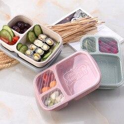 3 siatki pudełko na lunch pszenica słoma pojemnik do przechowywania żywności dzieci dzieci szkoła biuro przenośna kuchenka mikrofalowa pojemnik bento naczynia stołowe w Pudełka śniadaniowe od Dom i ogród na