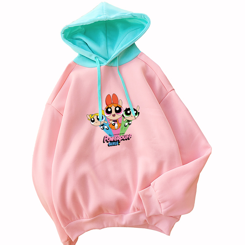 Powerpuff Girls Hoodies Women Streetwear Casual Fleece Harajuku Kawaii Cartoon Police Girl Print Spell Color Splicing Sweatshirt