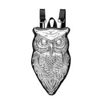 3D Owl Shape Backpack Shoulder Bag Fashion Girl Crossbody Bag PU Shoulder Bag for Women (Silver)