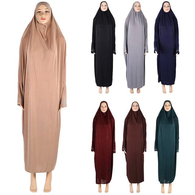 Muslim Women Modest Prayer Long Dress Abaya Full Cover Hijab Overhead Kaftan Jilabb Islamic Bat Sleeve Niqab Jilbab Robe Dubai