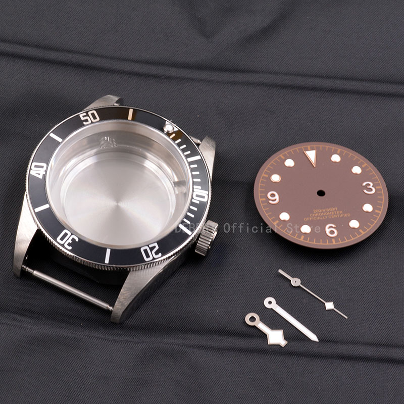 Image 2 - Watch Parts 41mm Watches Case dial hands Brass Coated 316L S  Steel Fit ETA 2836/2824 Miyota8215 821A movement for mens  mechanicaWatch Cases